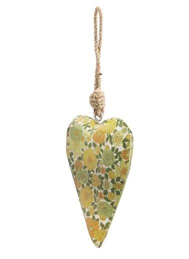 Vitale Çiçek Desenli Kalp Küçük Boy Yeşil